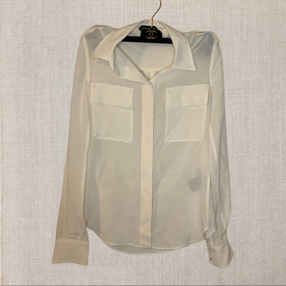 TOM FORD Women's White Silk Shirt Size 36 like a S